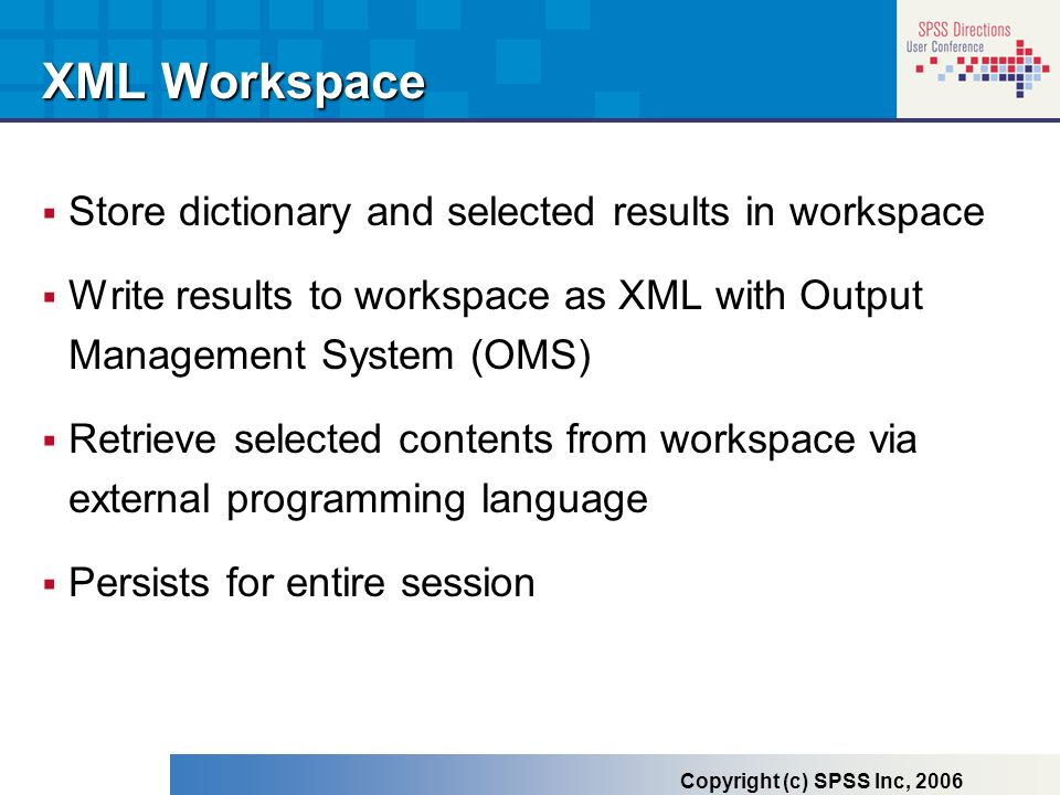 XML Workspace Store dictionary and selected results in workspace