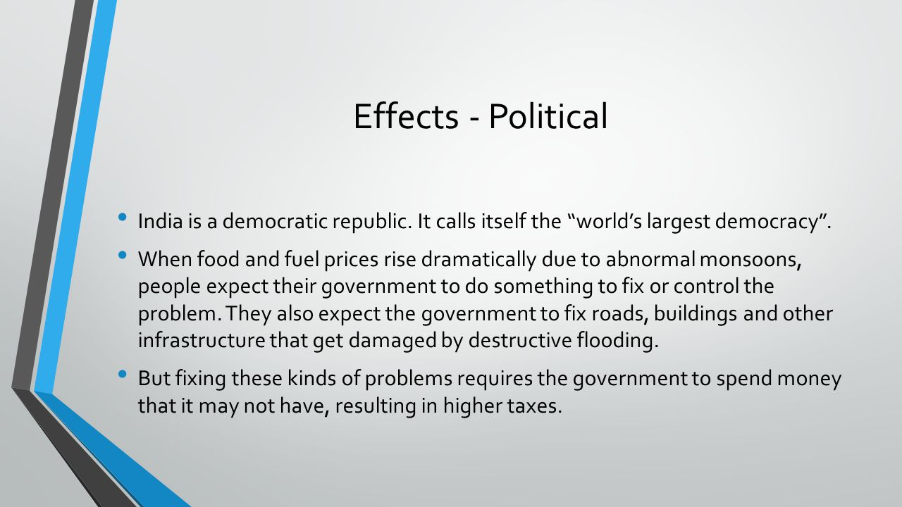 Effects - Political India is a democratic republic. It calls itself the world's largest democracy .
