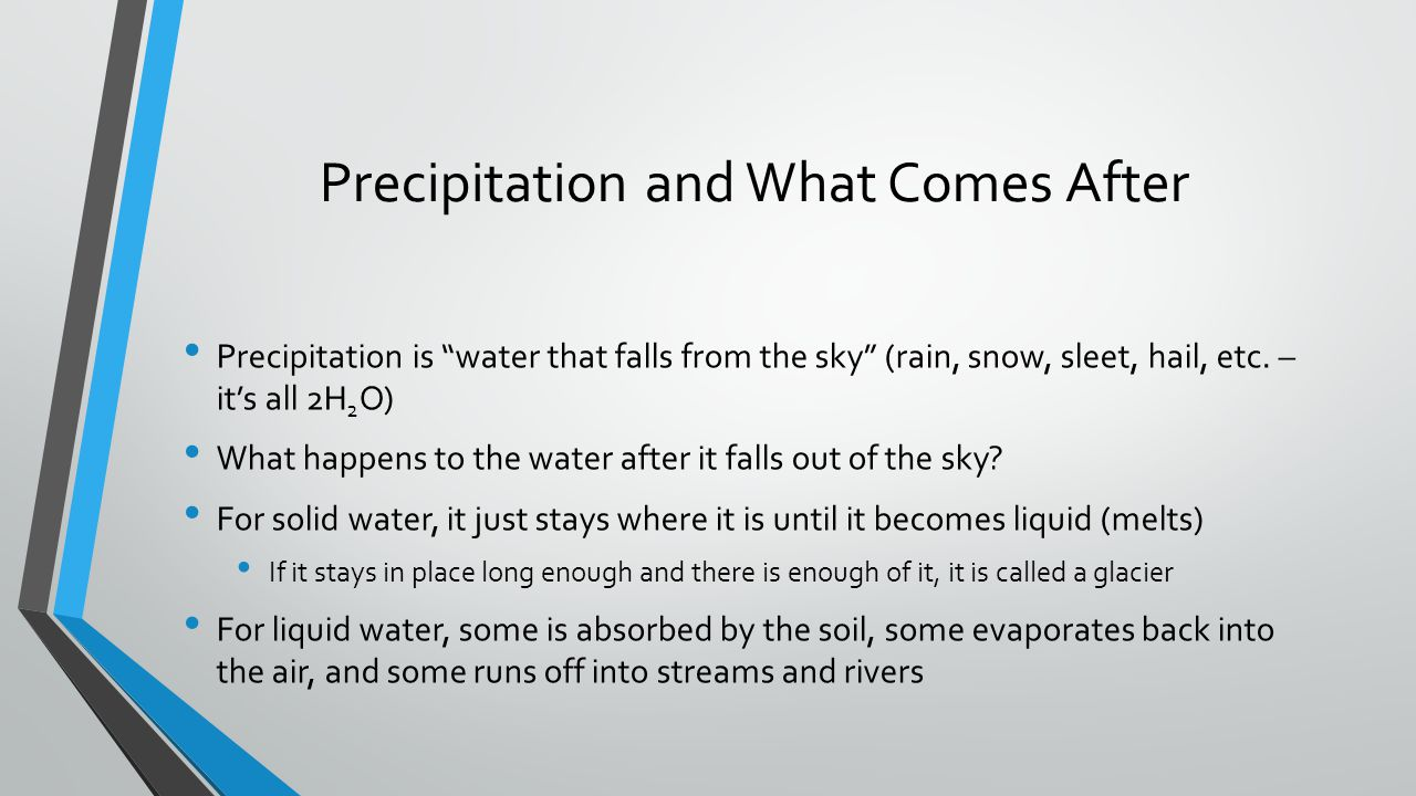 Precipitation and What Comes After