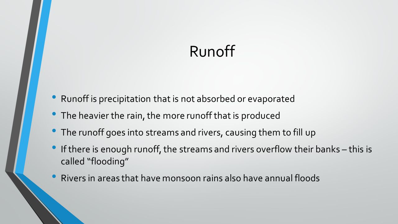 Runoff Runoff is precipitation that is not absorbed or evaporated