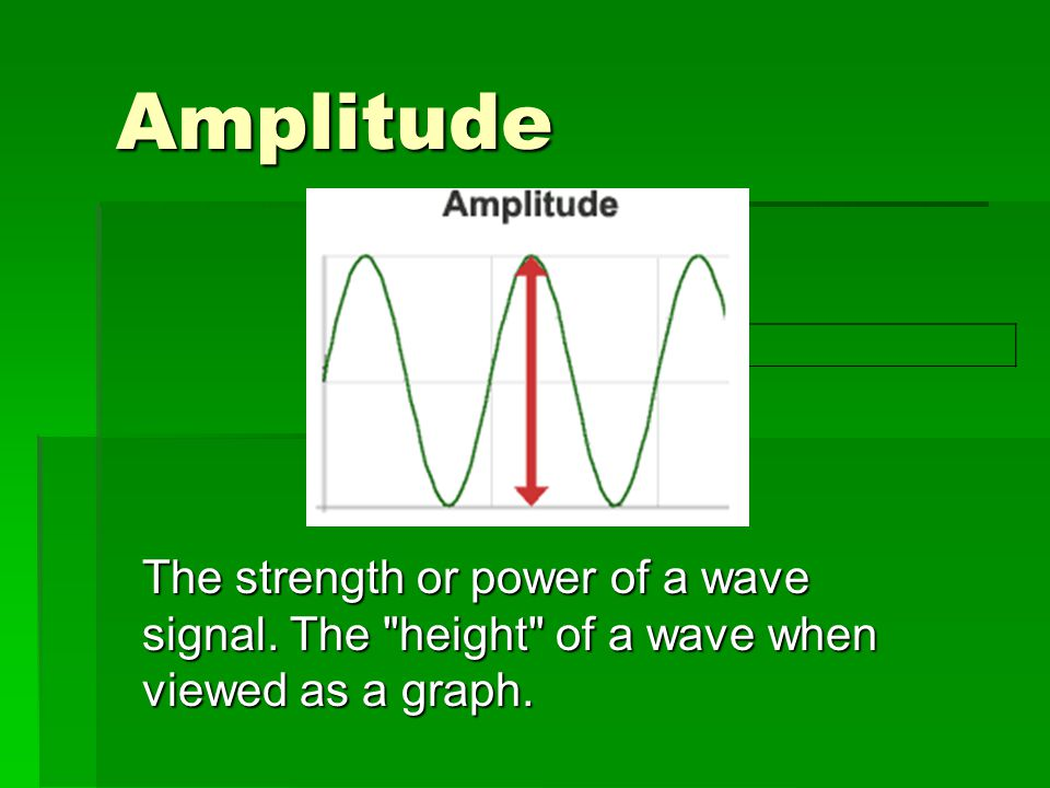Amplitude The strength or power of a wave signal. The height of a wave when viewed as a graph.