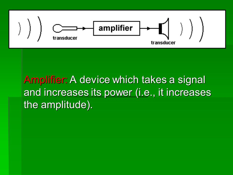 Amplifier: A device which takes a signal and increases its power (i. e