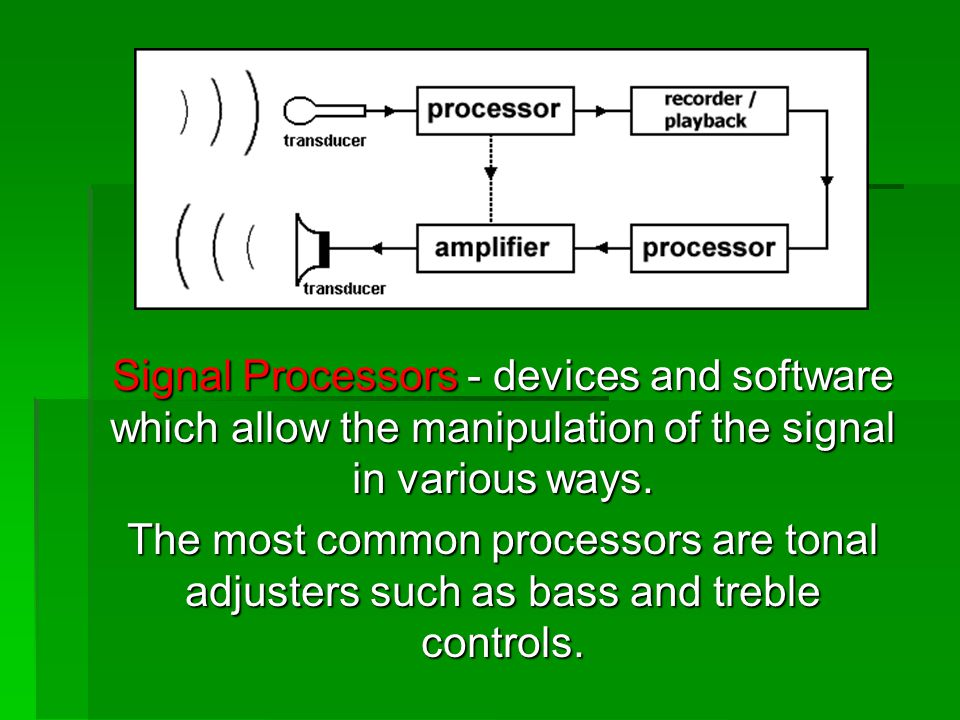 Signal Processors - devices and software which allow the manipulation of the signal in various ways.
