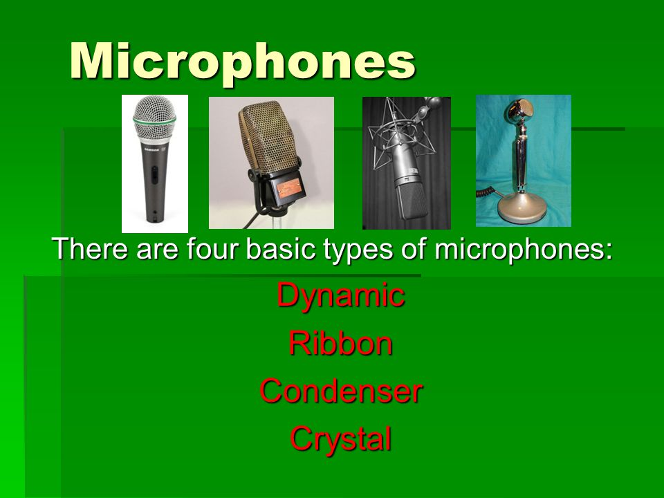 Microphones Dynamic Ribbon Condenser Crystal