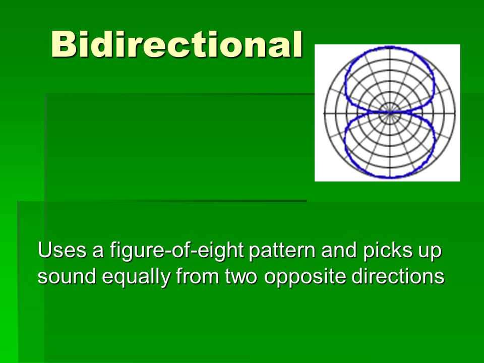Bidirectional Uses a figure-of-eight pattern and picks up sound equally from two opposite directions.