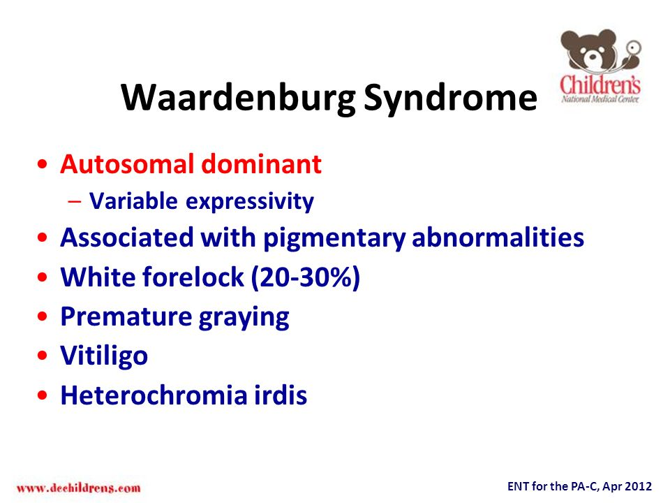 Waardenburg Syndrome Autosomal dominant
