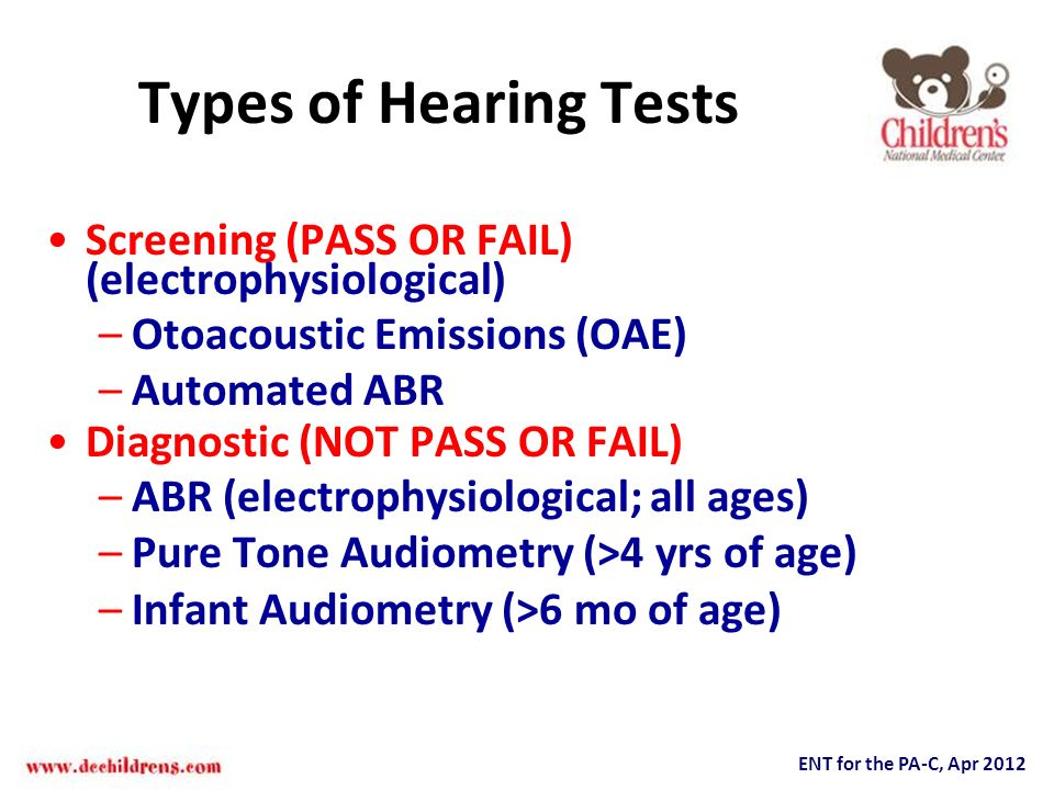 Types of Hearing Tests Screening (PASS OR FAIL) (electrophysiological)