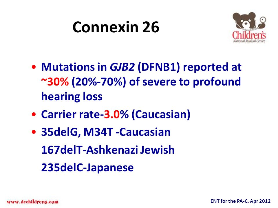 Connexin 26 Mutations in GJB2 (DFNB1) reported at ~30% (20%-70%) of severe to profound hearing loss.