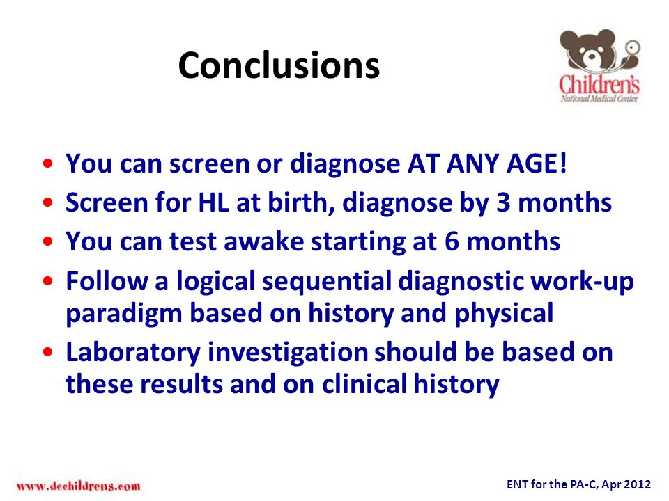 Conclusions You can screen or diagnose AT ANY AGE!