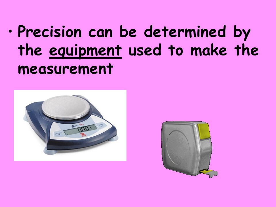Precision can be determined by the equipment used to make the measurement