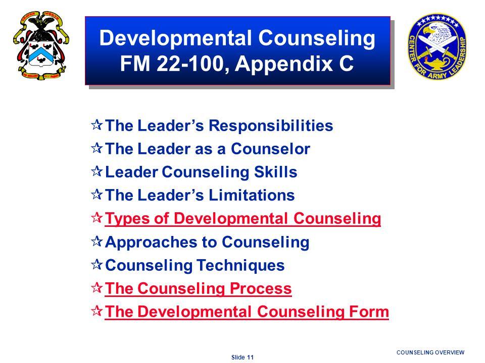 Developmental Counseling FM 22-100, Appendix C