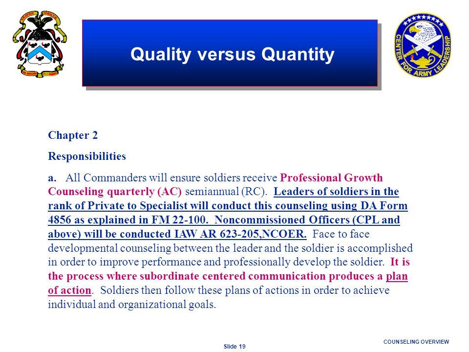 Quality versus Quantity