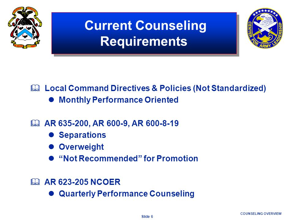 Current Counseling Requirements