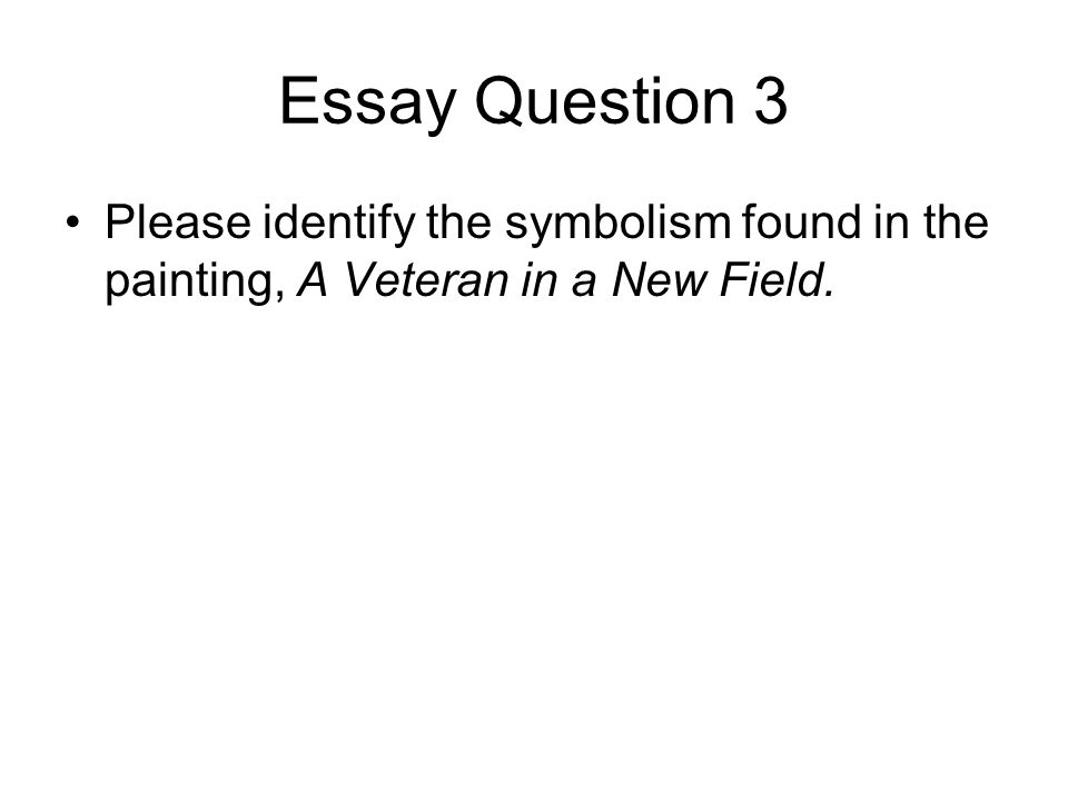 Essay Question 3 Please identify the symbolism found in the painting, A Veteran in a New Field.
