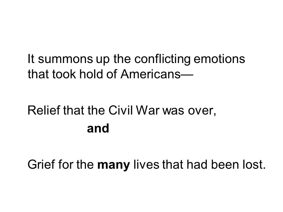It summons up the conflicting emotions that took hold of Americans—