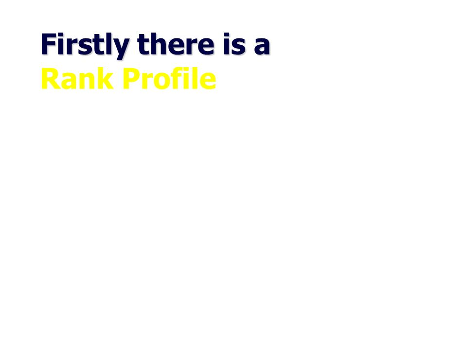 Firstly there is a Rank Profile