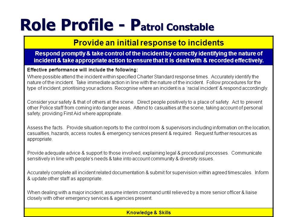 Role Profile - Patrol Constable