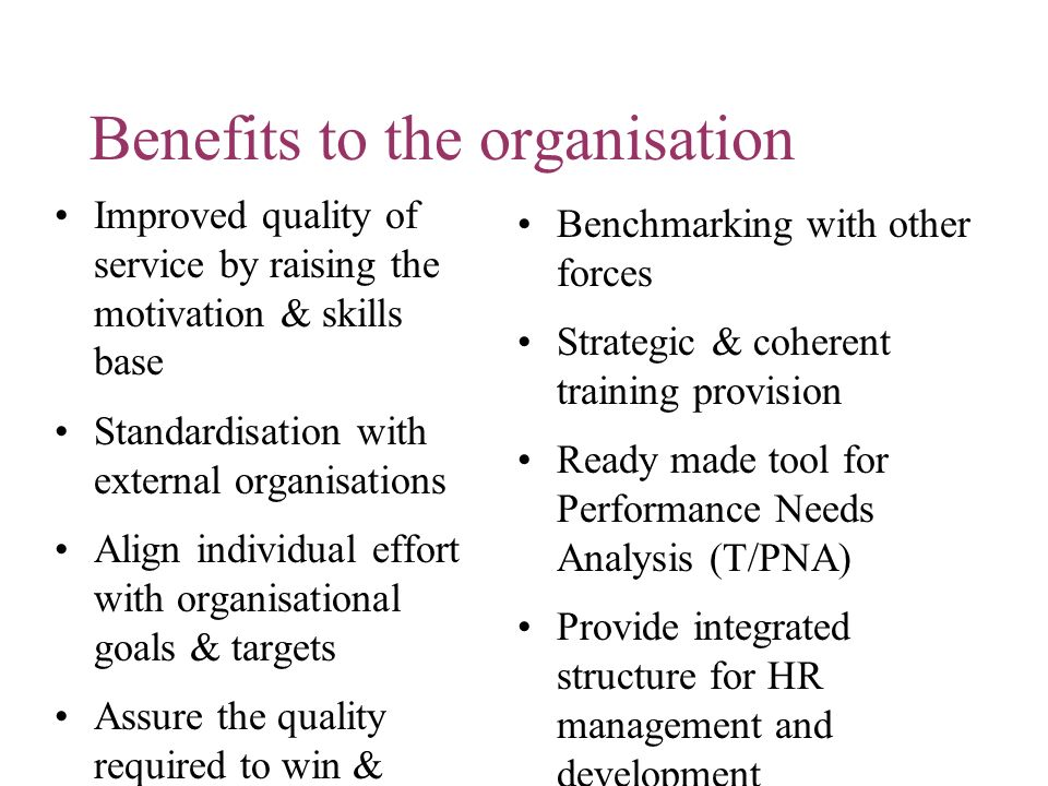 Benefits to the organisation