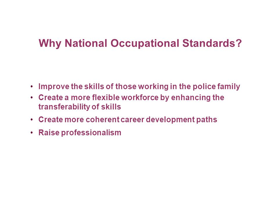 Why National Occupational Standards