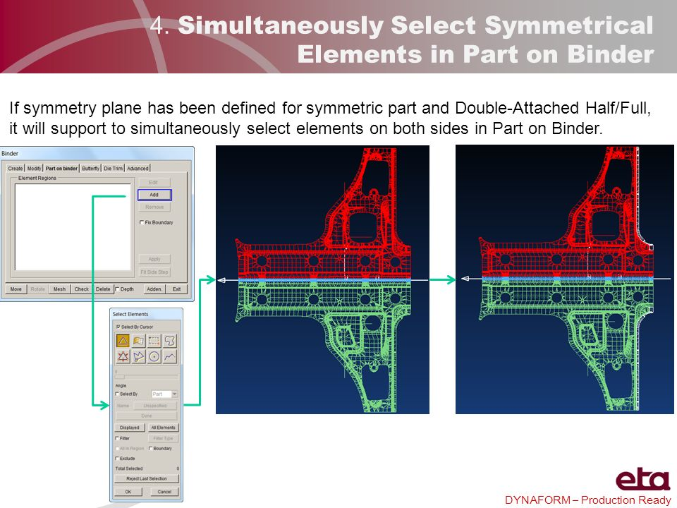 4. Simultaneously Select Symmetrical Elements in Part on Binder