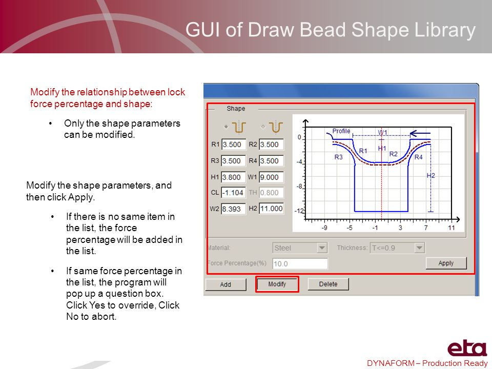 GUI of Draw Bead Shape Library