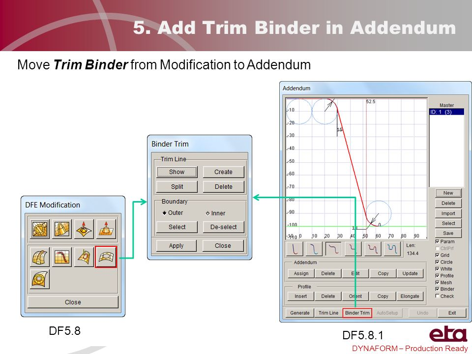 5. Add Trim Binder in Addendum