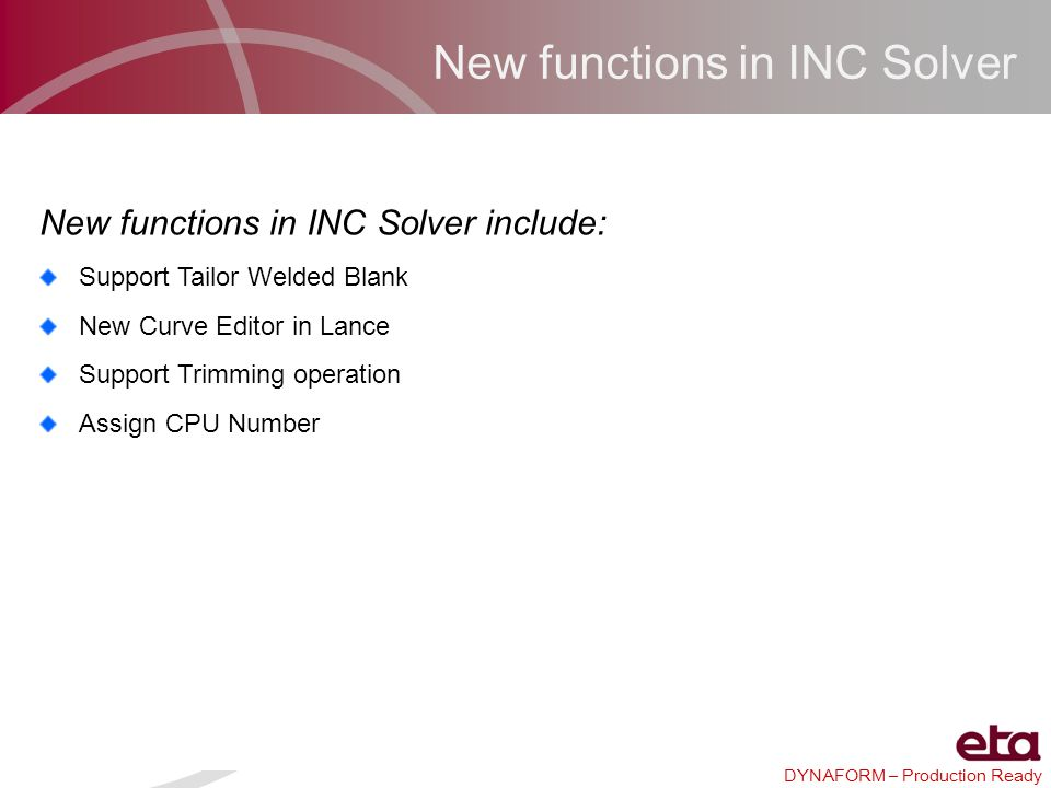 New functions in INC Solver