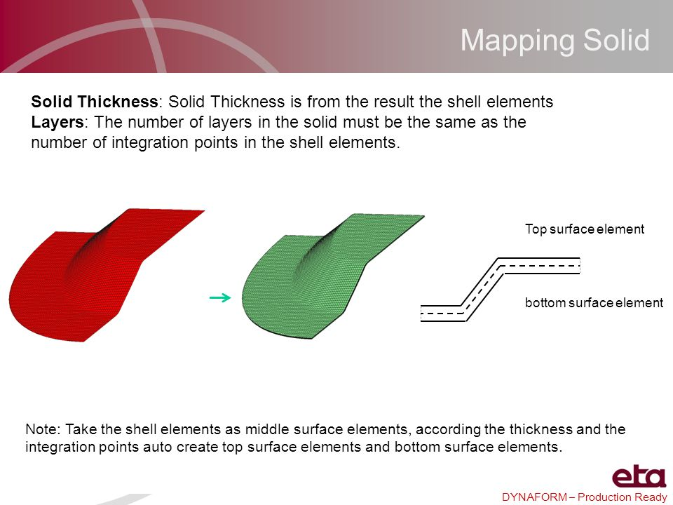 Mapping Solid Solid Thickness: Solid Thickness is from the result the shell elements.