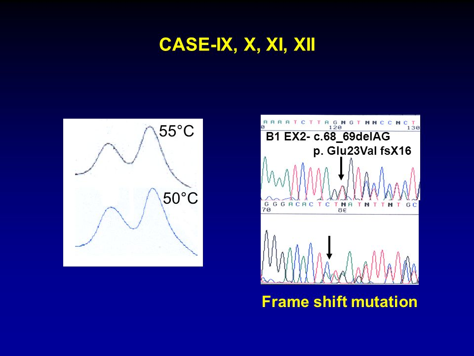 CASE-IX, X, XI, XII 55°C 50°C Frame shift mutation