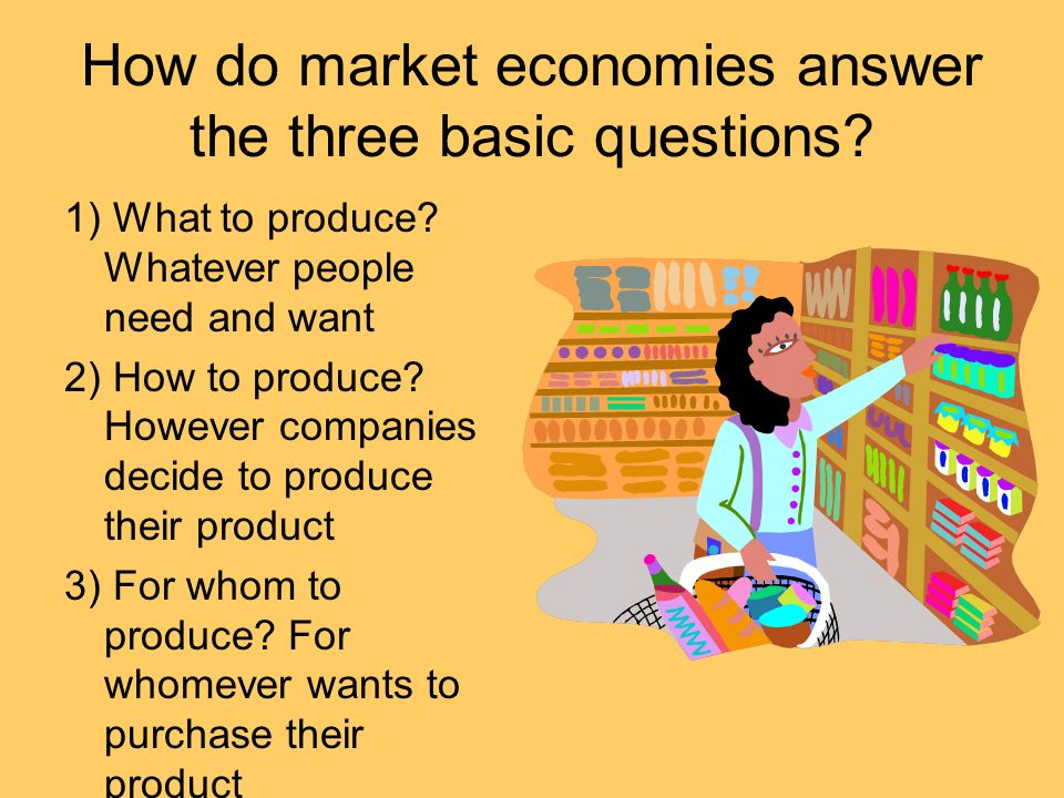 How do market economies answer the three basic questions