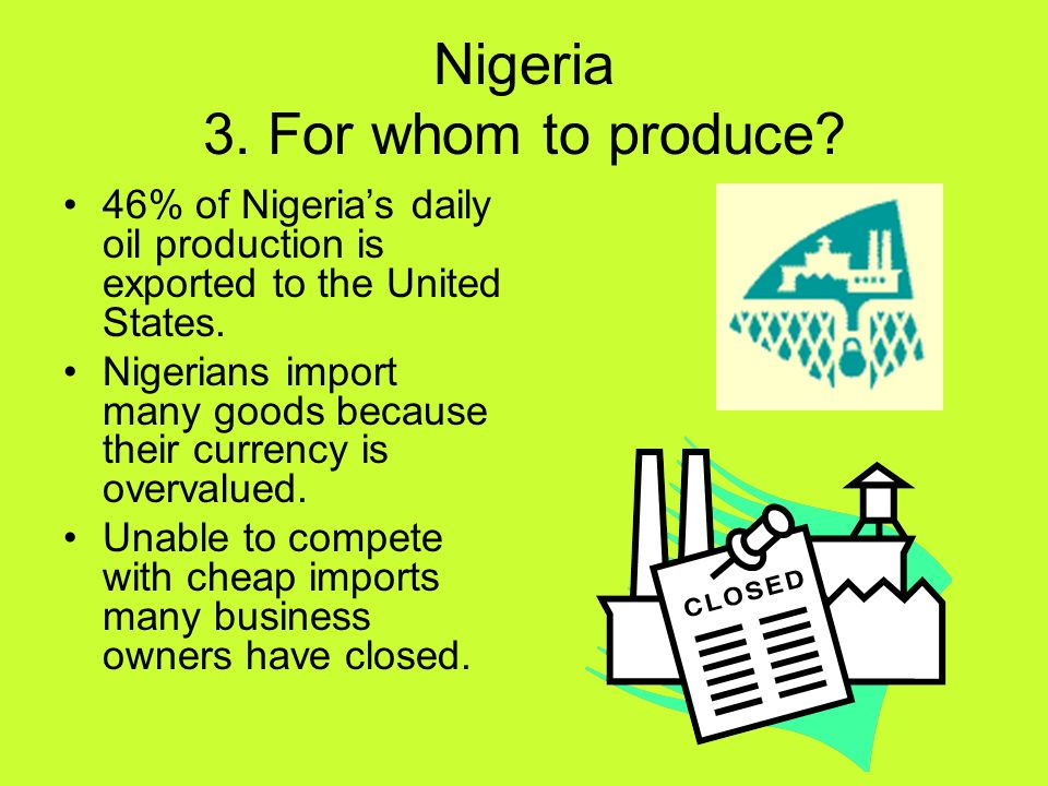 Nigeria 3. For whom to produce
