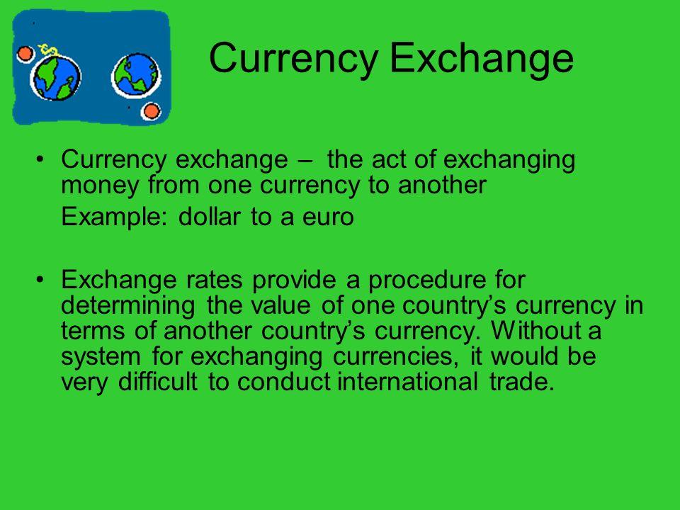 Money exchange values