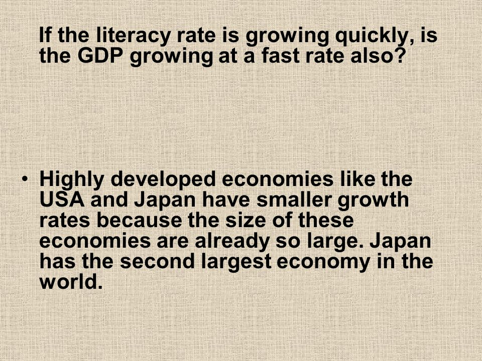 If the literacy rate is growing quickly, is the GDP growing at a fast rate also