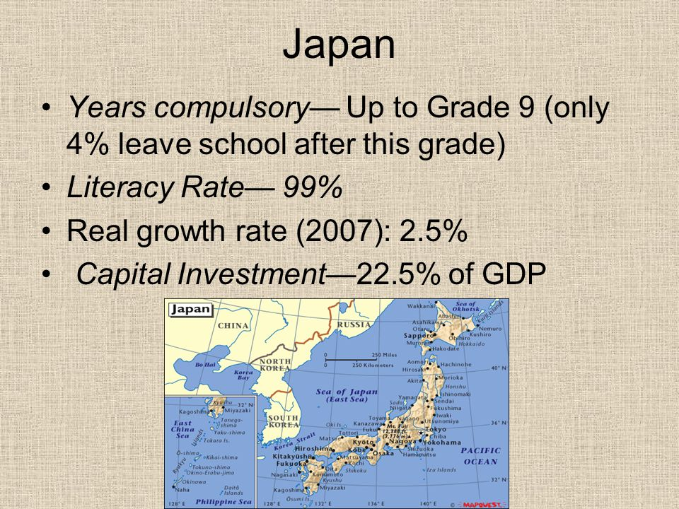 Japan Years compulsory— Up to Grade 9 (only 4% leave school after this grade) Literacy Rate— 99% Real growth rate (2007): 2.5%