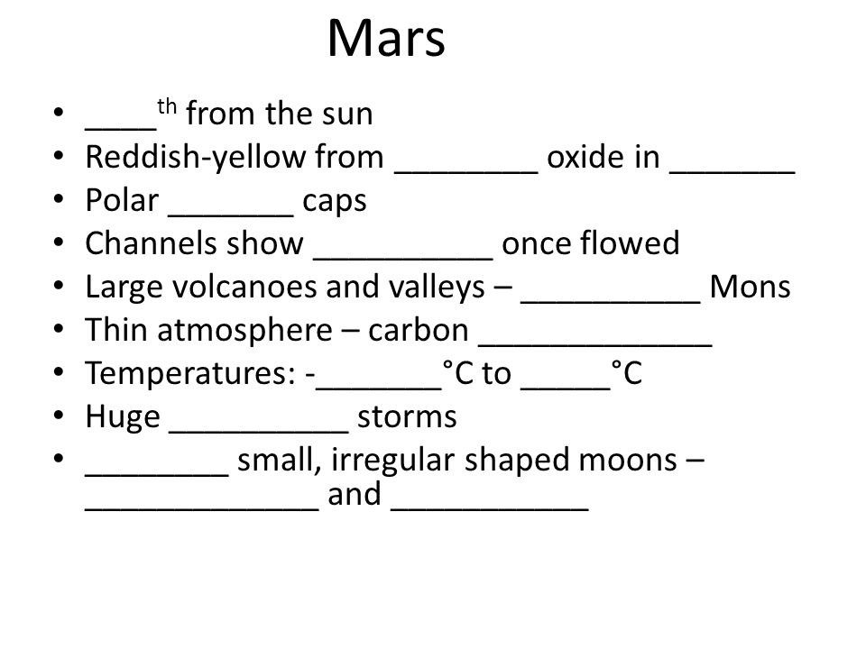 Mars ____th from the sun Reddish-yellow from ________ oxide in _______