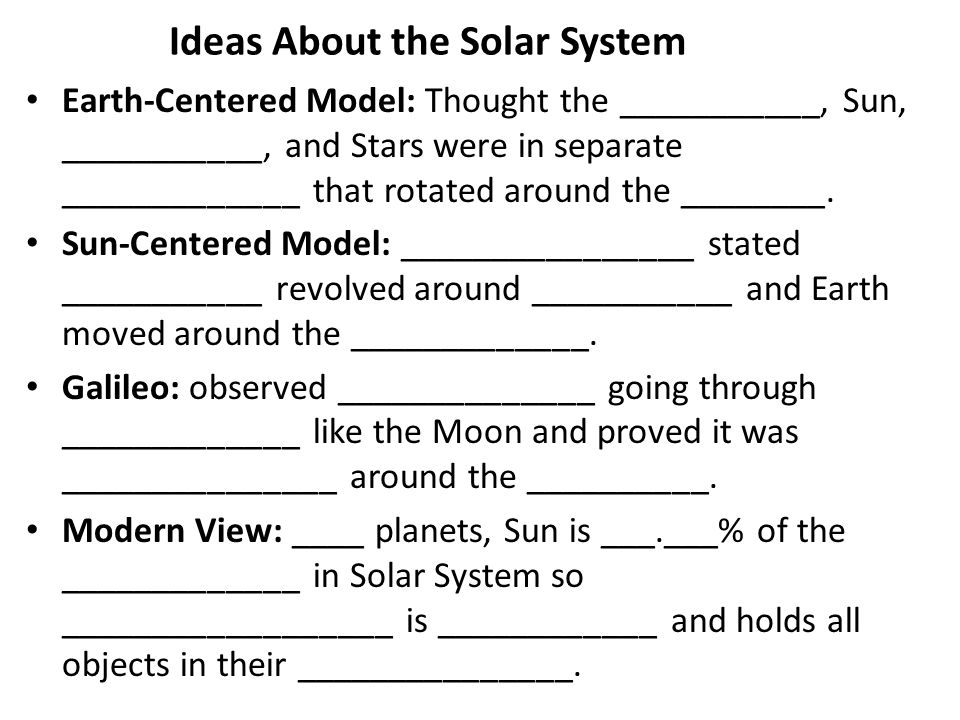 Ideas About the Solar System