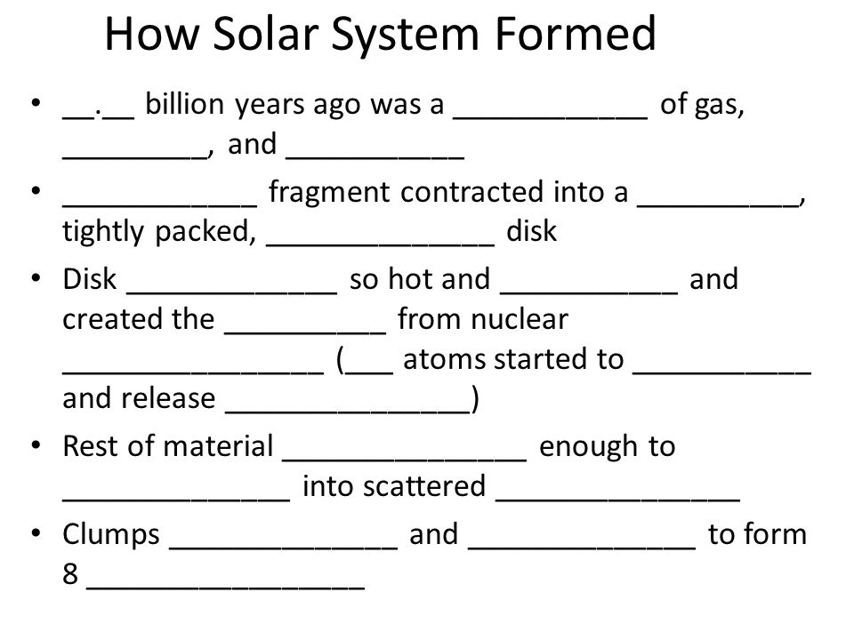 How Solar System Formed