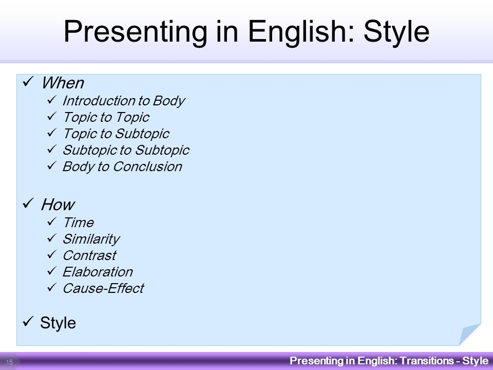 Presenting in English: Style