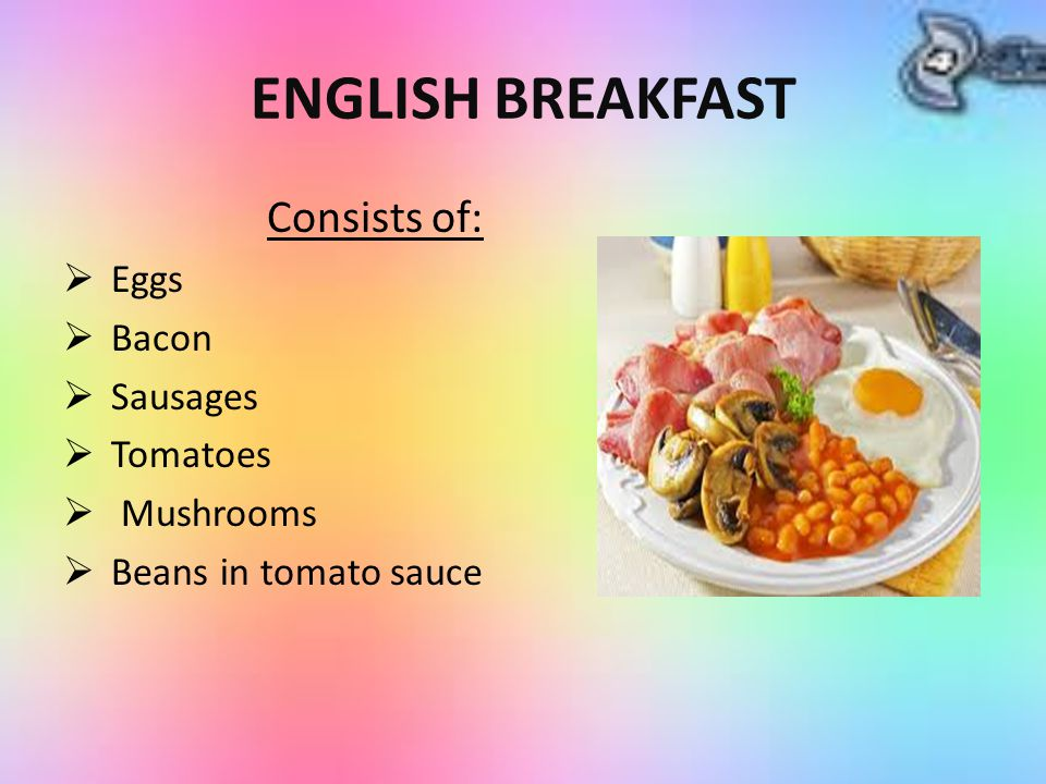 ENGLISH BREAKFAST Consists of: Eggs Bacon Sausages Tomatoes Mushrooms