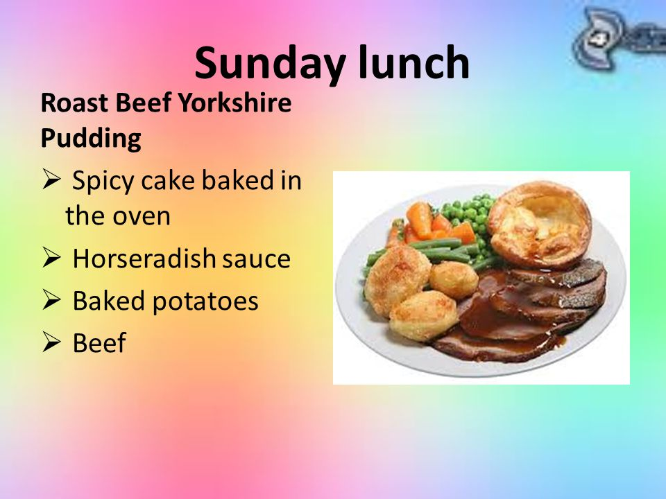 Sunday lunch Roast Beef Yorkshire Pudding Spicy cake baked in the oven