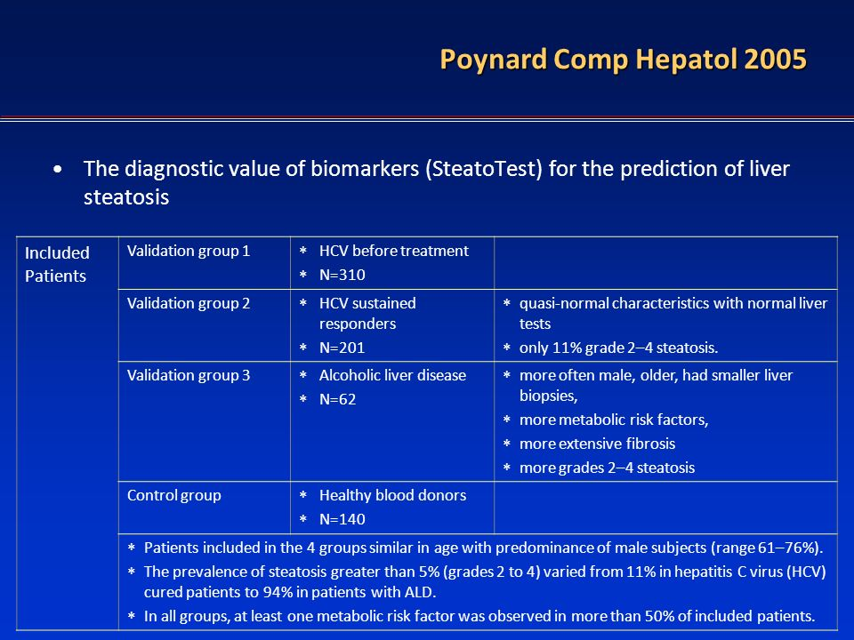 Poynard Comp Hepatol 2005 The diagnostic value of biomarkers (SteatoTest) for the prediction of liver steatosis.