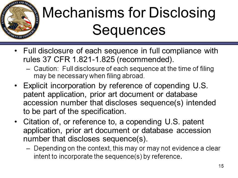 Mechanisms for Disclosing Sequences