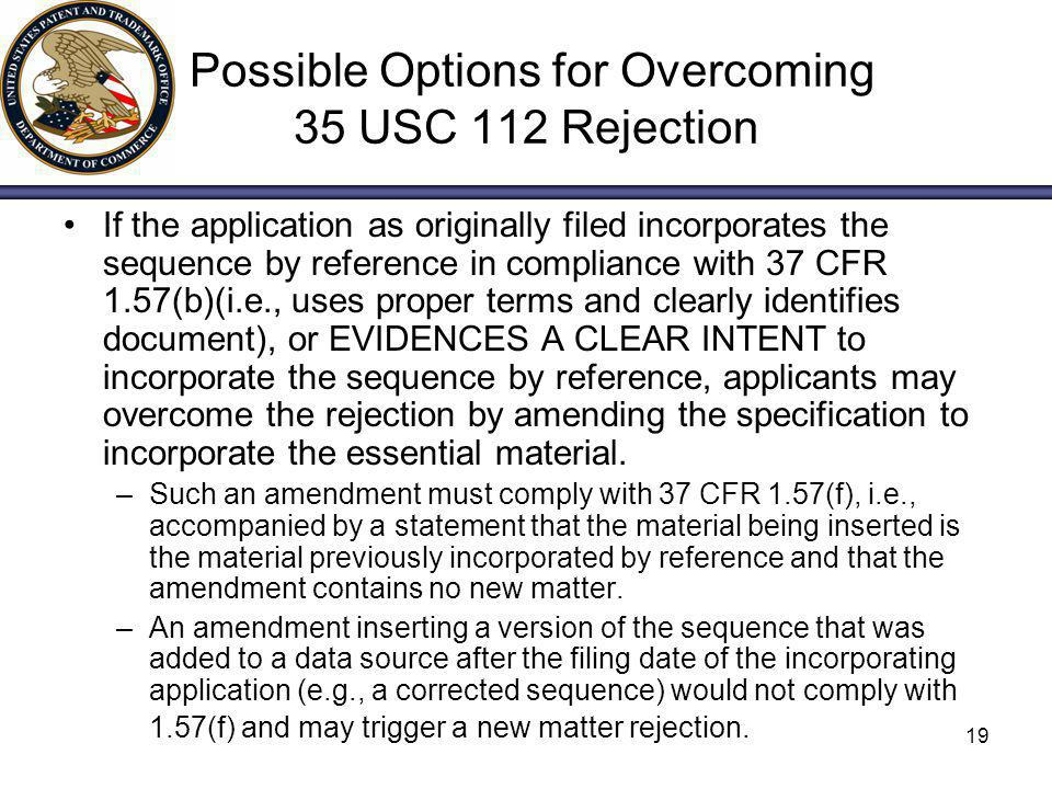 Possible Options for Overcoming 35 USC 112 Rejection