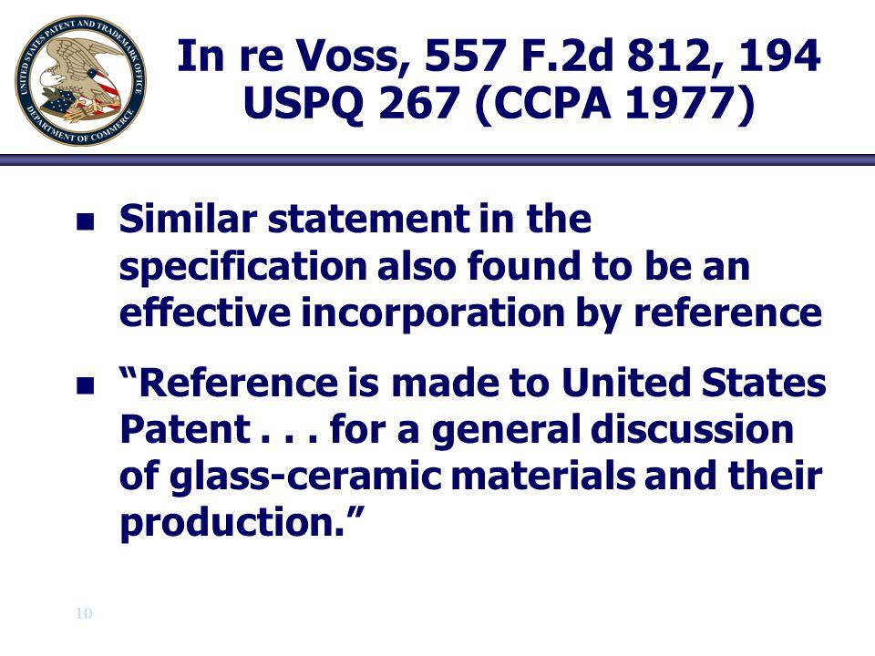 In re Voss, 557 F.2d 812, 194 USPQ 267 (CCPA 1977)