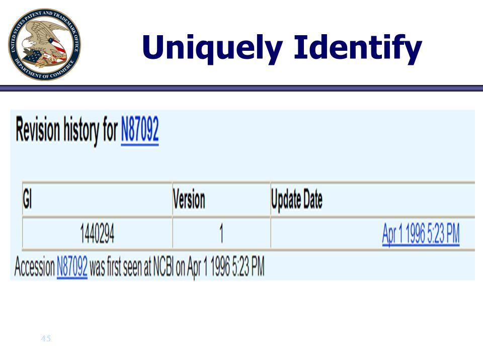 Uniquely Identify 45