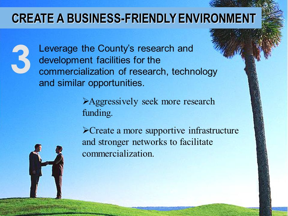 3 CREATE A BUSINESS-FRIENDLY ENVIRONMENT