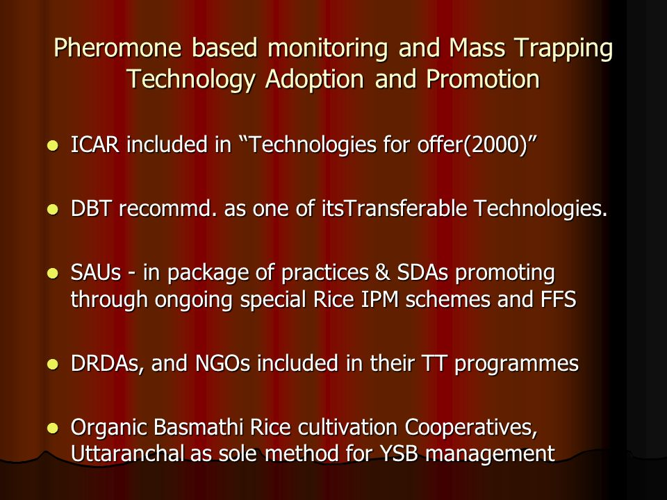 Pheromone based monitoring and Mass Trapping Technology Adoption and Promotion