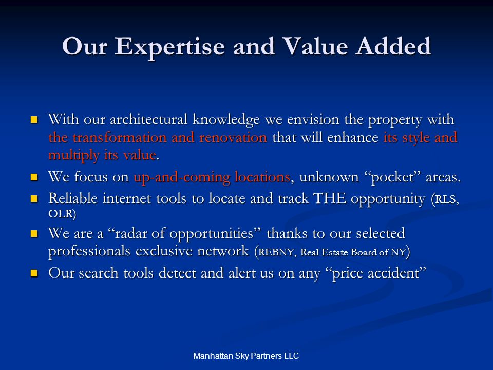 Our Expertise and Value Added