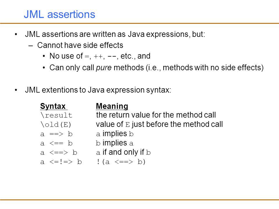JML assertions JML assertions are written as Java expressions, but: