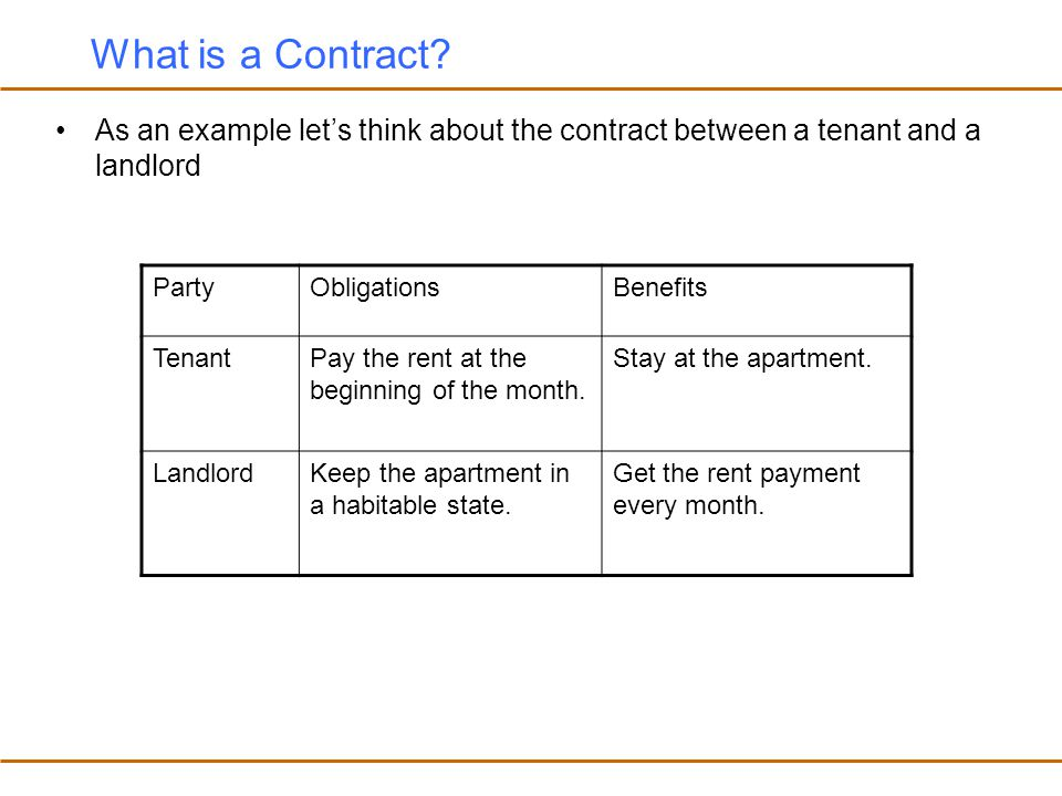 What is a Contract As an example let's think about the contract between a tenant and a landlord. Party.